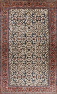 Pre-1900 Antique Ivory Floral Isfahan Persian Area Rug 12x19