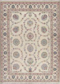 Masterpiece Silk Ivory Tabriz Persian Area Rug 10x13