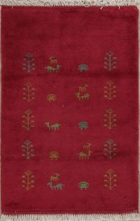 Ruby Red Tribal Gabbeh Shiraz Persian Wool Rug 3x4