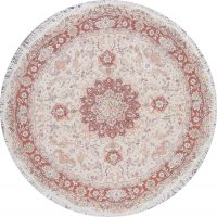 Vegetable Dye Floral Ivory Tabriz Persian Hand-Knotted Round Rug 7x7