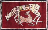 Animal Pictorial Gabbeh Persian Hand-Knotted 2x4 Red Wool Rug