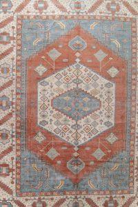 Vegetable Dye Heriz Serapi Persian Handmade 17x22  Muted Terracota Rug Wool