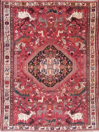 Antique Red Animal Pictorial Qashqai Persian Hand-Knotted 6x8 Wool Area Rug