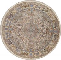 Antique Vegetable Dye Tabriz Persian Hand-Knotted 8x8 Wool Silk Round Rug