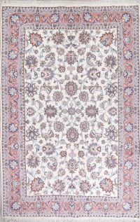 Wool/Silk Floral White Tabriz Persian Hand-Knotted 6x10 Area Rug