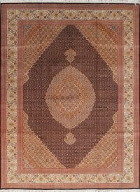 Extra Fine Geometric Tabriz Persian Hand-Knotted 8x12 Wool Silk Area Rug