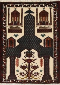 Geometric Balouch Persian Hand-Knotted 3x4 Prayer Rug