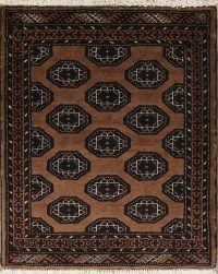 Brown Geometric Balouch Persian Hand-Knotted 3x3 Wool Square Rug