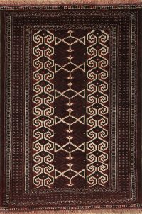 Multi-Colored Geometric Balouch Persian Hand-Knotted 3x4 Wool Rug
