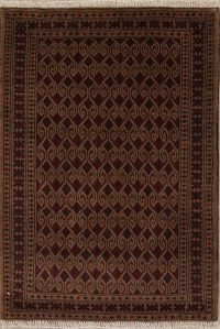 All-Over Geometric Balouch Persian Hand-Knotted 3x4 Wool Rug