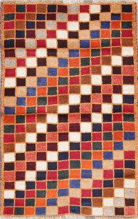 Checked Multi-Colored Gabbeh Persian Hand-Knotted 3x4 Wool Rug