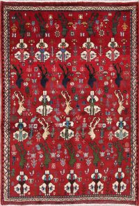 Animal Pictorial Shiraz Persian Hand-Knotted 4x5 Wool Area Rug