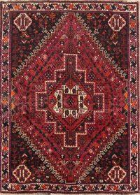 Tribal Geometric Shiraz Persian Hand-Knotted 4x5 Wool Area Rug