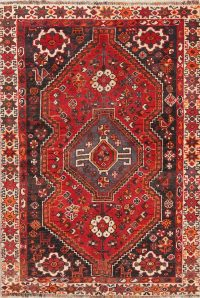 Tribal Geometric Shiraz Persian Hand-Knotted 3x5 Wool Rug