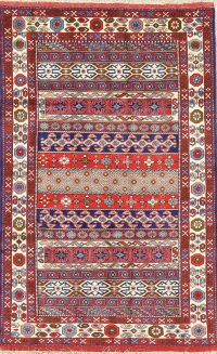 All-Over Geometric Bokhara Pakistan Oriental 4x6 Wool Silk Area Rug