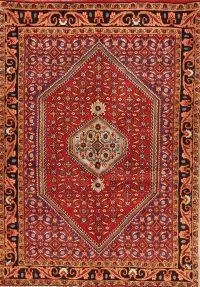 Geometric Red Bidjar Persian Hand-Knotted 4x5 Wool Area Rug