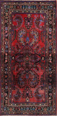Geometric Red Lilian Persian Hand-Knotted 4x7 Wool Area Rug