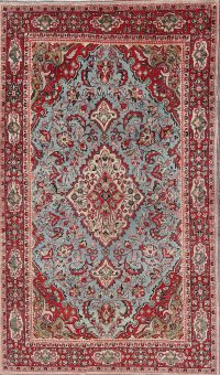 Traditional Floral Kashan Persian Hand-Knotted 4x7 Wool Area Rug