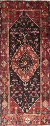 Tribal Geometric Zanjan Persian Hand-Knotted 4x11 Wool Runner Rug