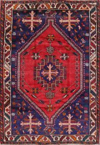 Geometric Red Shiraz Persian Hand-Knotted 6x8 Wool Area Rug