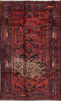 Geometric Red Balouch Persian Hand-Knotted 4x7 Wool Area Rug
