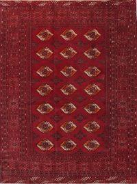 Antique Geometric Tukoman Persian Hand-Knotted 4x6 Wool Area Rug