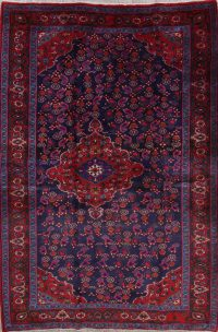 Floral Navy Blue Zanjan Persian Hand-Knotted 5x7 Wool Area Rug