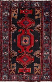 Geometric Black Hamedan Persian Hand-Knotted 4x7 Wool Area Rug