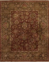 Floral Agra Oriental Hand-Knotted 8x11 Wool Area Rug