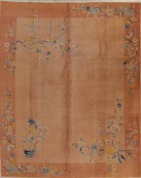 Floral Rust Art Deco Chinese Oriental Hand-Knotted 10x13 Wool Area Rug