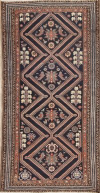 Antique Bakhtiari Saman Persian Hand-Knotted 3x7 Wool Runner Rug