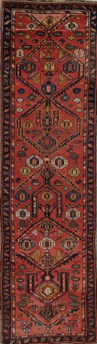 Pre-1900 Vegetable Dye Bidjar Persian Handmade 3x12 Wool Runner Rug