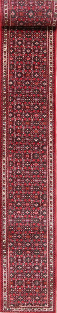 All-Over Red Hossainabad Persian Hand-Knotted 3x29 Wool Runner Rug