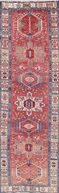 Geometric Red Heriz Persian Hand-Knotted 4x11 Wool Runner Rug