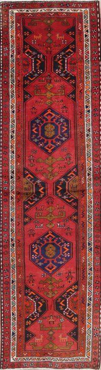 Geometric Red Goravan Persian Hand-Knotted 4x13 Wool Runner Rug