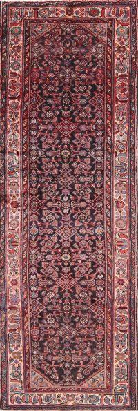 Geometric Black Hamedan Persian Hand-Knotted 4x10 Wool Runner Rug