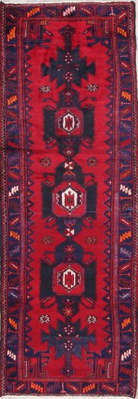 Geometric Red Hamedan Persian Hand-Knotted 4x10 Wool Runner Rug