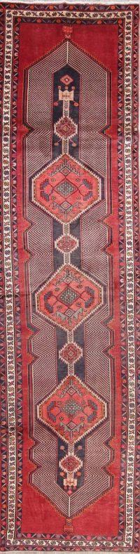 Geometric Meshkin Persian Hand-Knotted 4x13 Wool Runner Rug