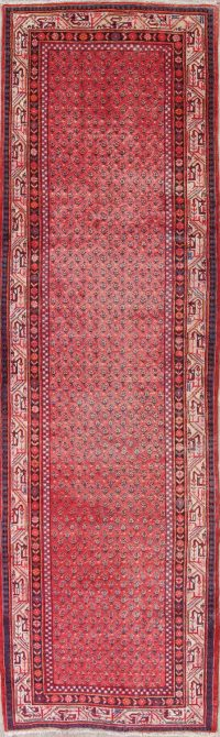 Paisley Red Botemir Persian Hand-Knotted 4x12 Wool Runner Rug