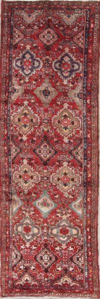 Geometric Red Hamedan Persian Hand-Knotted 3x10 Wool Runner Rug
