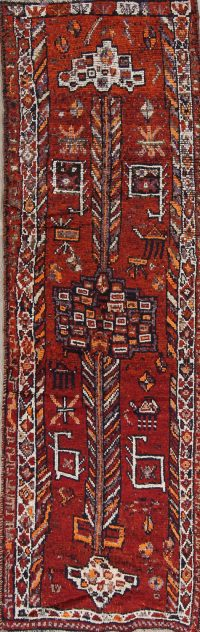 Antique Orange/Red Lori Persian Hand-Knotted 4x11 Wool Runner Rug
