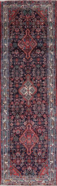 Geometric Hamedan Persian Hand-Knotted 4x11 Wool Runner Rug
