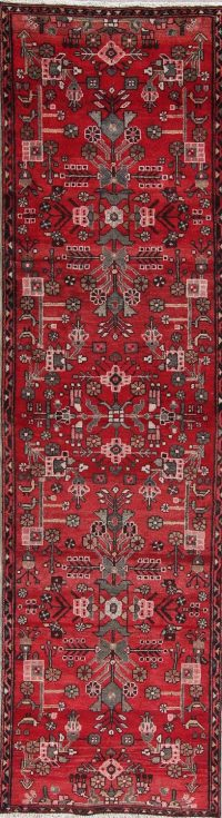 Geometric Red Nahavand Persian Hand-Knotted 3x10 Wool Runner Rug