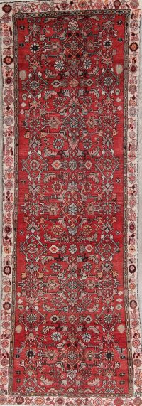 Geometric Red Bakhtiari Persian Hand-Knotted 3x10 Wool Runner Rug