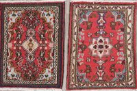 Set Of Two Geometric Hamedan Persian Hand-Knotted 2x2 Wool Square Rug