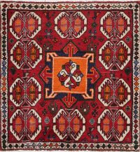 Geometric Red Ardebil Persian Hand-Knotted 2x2 Wool Square Rug