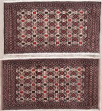 Set Of Two Geometric Bokhara Pakistan Oriental Hand-Knotted 2x3 Wool Rugs