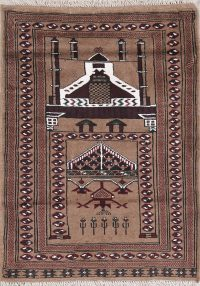 Geometric Pray Brown Balouch Persian Hand-Knotted 3x4 Wool Rug