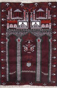 Geometric Pray Balouch Persian Hand-Knotted 3x4 Wool Rug