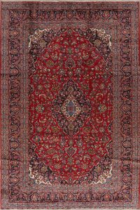 Traditional Floral Kashan Persian Hand-Knotted 8x12 Wool Area Rug